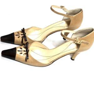 Kate Spade 6.5 Brown Slingbacks Heels Leather Bow